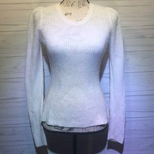 1. State Angora White Sweetheart Sweater S